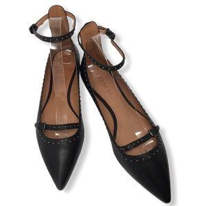 Coach Jody Leather Studded Pointed Toe Flats 9.5